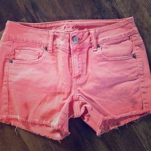 American Eagle pink jean shorts